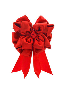Bordeaux big bow red on a white background