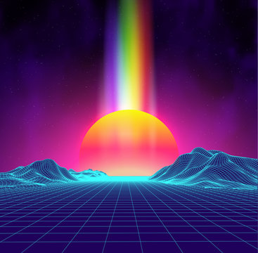 Synth wave retro city landscape background sunset 3d landscape with rainbow light. Futuristic landscape 1980s style. Digital retro landscape cyber surface. 80s party background . Retro fashion Sci-Fi