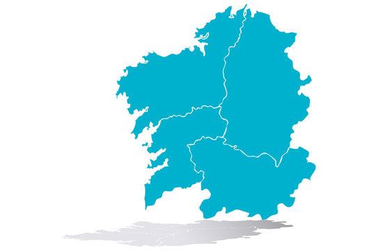 Mapa azul de Galicia.