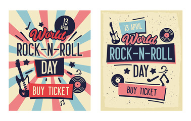 Rock and Roll Festival Typography Banner Set. Live Music with Electric and Bass Guitar. Ideal for Printable Concert Promotion in Clubs, Bars, Pubs and Public Places. Flat Cartoon Vector Illustration