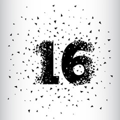 Broken numbers 16. Explosion effects. Vector and illustration.