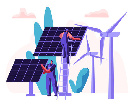 Alternative Clean Energy Concept with Solar Panels, Wind Turbines and Engineer Character. Renewable Power Sources with Windmills. Vector flat illustration