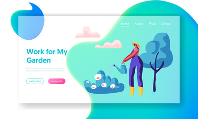 Woman Gardener in Hat Watering Bush in Garden Landing Page. Girl Worker in Boot with Water Can Growing Plant and Flora for Landscape in Yard Website or Web Page. Flat Cartoon Vector Illustration