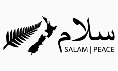 Vector illustration of a black fern, New Zealand map and Arabic calligraphy for salam or peace