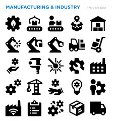 Manufacturing And Industry Vector Icon Set
