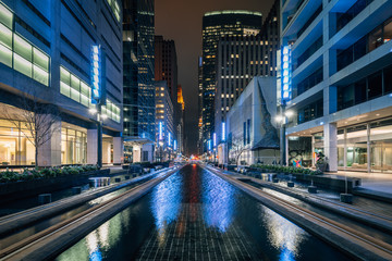 Main Street Square at night, in downtown Houston, Texas