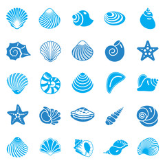 Sea Shell icons set blue on white background for graphic and web design. Simple vector sign. Internet concept symbol for website button or mobile app.