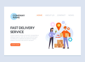 Courier man character bringing parcel box to woman consumer. Delivery commerce concept. Vector design graphic flat cartoon web page loading banner illustration