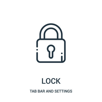 lock icon vector from tab bar and settings collection. Thin line lock outline icon vector illustration.