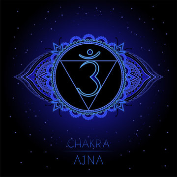 Vector illustration with symbol Ajna - Third Eye chakra on black background.