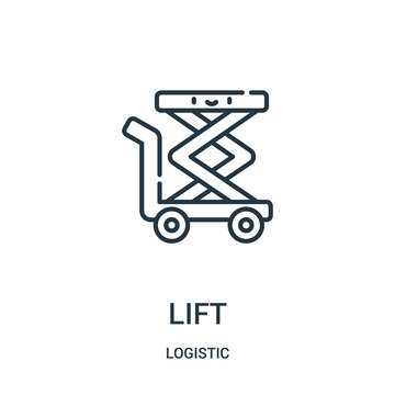 lift icon vector from logistic collection. Thin line lift outline icon vector illustration.