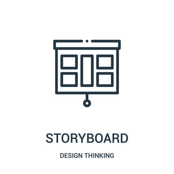 storyboard icon vector from design thinking collection. Thin line storyboard outline icon vector illustration.