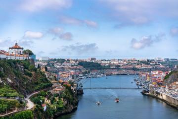 View of Dom Luís I Bridge over Douro River and City of Oporto, Portugal