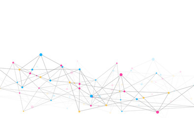 Abstract connecting dots and lines with geometric background. Modern technology connection science, Polygonal structure background. Vector illustration Wall mural