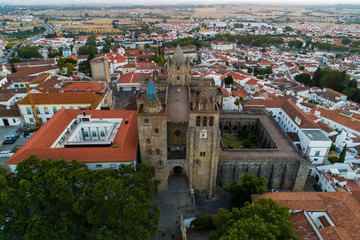 Aerial view of the city Evora Alentejo Portugal - historical center