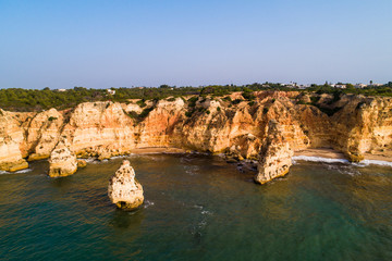 Praia da Marinha, Lagoa, Algarve, Portugal, Europe - Aerial View at Dsuk