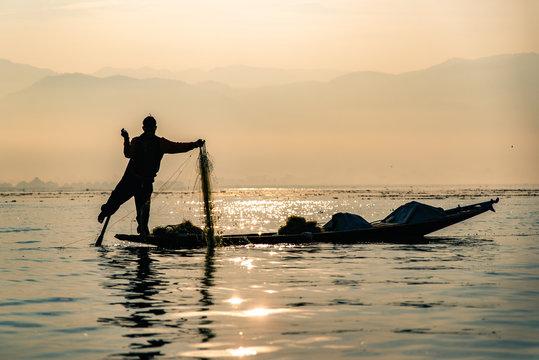 Fisherman at Inle Lake in Myanmar