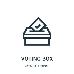 voting box icon vector from voting elections collection. Thin line voting box outline icon vector illustration.