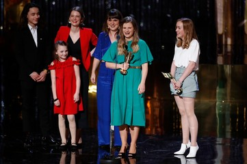 """""""A Colony"""" cast and producers accept award for best motion picture at the 7th annual Canadian Screen Awards in Toronto, Canada"""