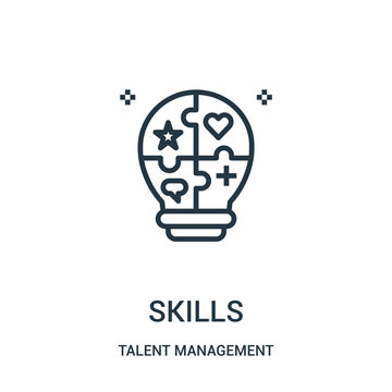skills icon vector from talent management collection. Thin line skills outline icon vector illustration.