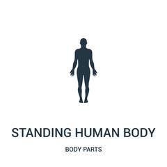 standing human body silhouette icon vector from body parts collection. Thin line standing human body silhouette outline icon vector illustration.