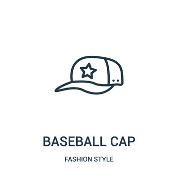 baseball cap icon vector from fashion style collection. Thin line baseball cap outline icon vector illustration.