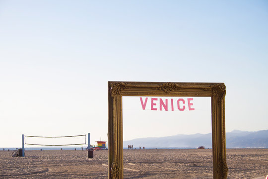Venice Beach Los Angeles California Picture Frame & Word Sign