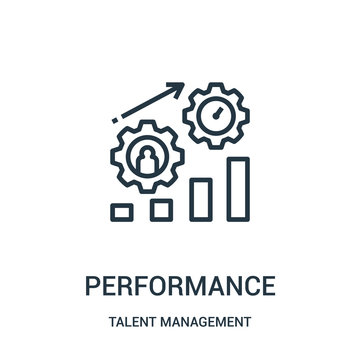 performance icon vector from talent management collection. Thin line performance outline icon vector illustration.
