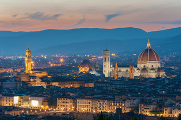 Fotomurales - Skyline of Historical city Florence, Tuscany, Italy under sunset