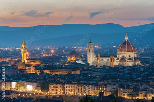 Fototapete Skyline of Historical city Florence, Tuscany, Italy under sunset