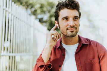 Music through a wireless earphone