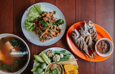 Nam Prik Pla To, fried fish, Spicy fish salad -Thai street food lunch set