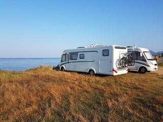 caravan car summer holidays by the sea