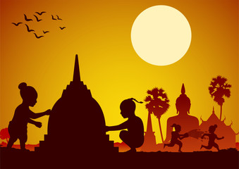 Childrean throw water each other and build sand pagoda in Song kran day famous festival of Thailand Loas Myanmar and Cambodia,new year,silhouette design
