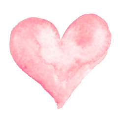 Watercolor hand-painting pink heart shape on white background