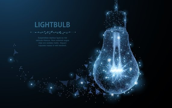Lightbulb. Polygonal mesh art looks like constellation. Concept illustration or background