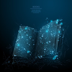 open book low poly blue