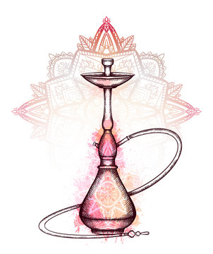 Illustration of hookah with hatching, pink watercolor splashes, ornaments and tracery  zen mandala on background. Vector engraving element for menu, cards and your design.