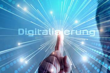 Ein Mann weist auf die Digitalisierung hin