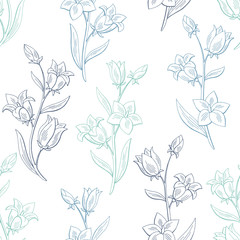 Bluebell flower graphic color seamless pattern sketch background illustration vector