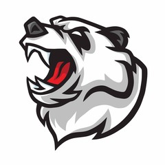 Angry Panda Roar Vector Mascot Logo Design Character