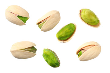 pistachio isolated on the white background. top view