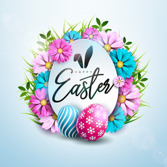 Happy Easter Holiday Design with Painted and Spring Flower on Clean Background. International Vector Celebration Illustration with Typography for Greeting Card, Party Invitation or Promo Banner.