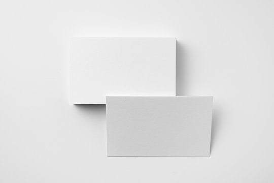 top view of 2 business card isolated on white