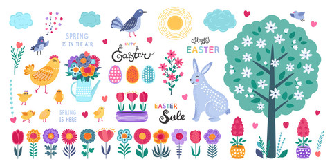 Set of Easter design elements. Hand drawn eggs, chicken, flowers, tulips, birds, rabbit and calligraphy on white background.