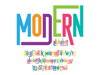 Vector of stylized colorful modern alphabet design Wall mural