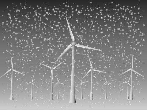 Many cool modern windmills vector to generate electricity from wind in snowy weather of winter season for renewable energy industry illustration
