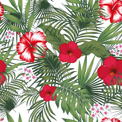 Tropical leaves and flowers seamless white background