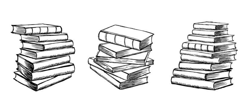 Book vector. Hand drawn illustration in sketch style.