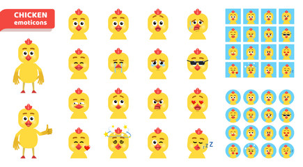 Set of cartoon chicken emoticons. Funny chicken avatars showing diverse facial expressions. Happy, sad, angry, laugh, surprised, dazed, sleepy, in love and other emotions. Flat vector illustration